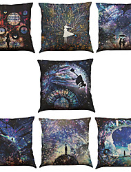 cheap -Set of 7 Time and Space Pattern Linen  Cushion Cover Home Office Sofa Square  Pillow Case Decorative Cushion Covers Pillowcases As a Gift