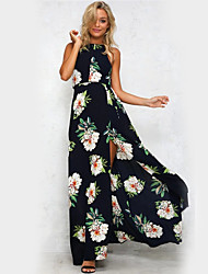 cheap -Women's Vintage Cute Street chic Sheath Swing Dress - Floral High Rise Maxi Halter