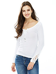 cheap -Women's Daily Sexy Winter Fall Blouse,Solid V Neck Long Sleeves Cotton Medium