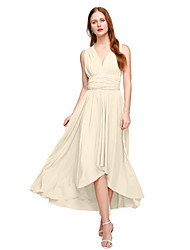 cheap -Product Sample A-Line Princess V Neck Asymmetrical Jersey Bridesmaid Dress with Pleats by LAN TING BRIDE®
