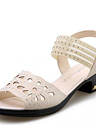 cheap -Women's Shoes Leatherette Spring Summer Comfort Sandals Low Heel Round Toe Open Toe Rhinestone Buckle for Casual Outdoor Office & Career