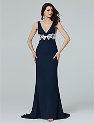 cheap -Sheath / Column Plunging Neckline Sweep / Brush Train Chiffon Formal Evening Dress with Appliques by TS Couture®