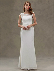 cheap -Mermaid / Trumpet Scoop Neck Floor Length Lace Satin Custom Wedding Dresses with Button by LAN TING BRIDE®