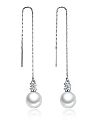 cheap -Long Drop Earrings Unique Elegant Design Imitation Pearl Cubic Zirconia Platinum Plated Silver Jewelry For Wedding Party
