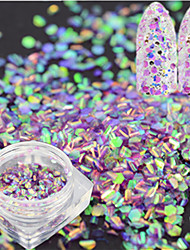 cheap -1 Bottle Fashion Sweet Nail Art Glitter Light Purple Fish Scale Slice Decoration Laser Nail Art Mermaid Hexagon Paillette Glitter Thin Slice LP09