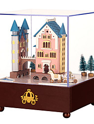 cheap -Music Box Square Castle Carriage Gift Rotating Kid's Adults Kids Gift Wood Unisex