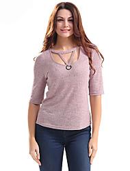 Dámské Jednobarevné Běžné/Denní Jednoduché Tričko-Léto Bavlna Polyester Kulatý Krátký rukáv Tenké