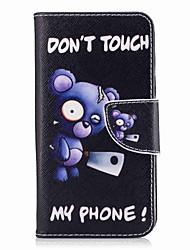 cheap -For Samsung Galaxy J3(2017) J7(2016) Card Holder Wallet with Stand Flip Pattern Case Full Body Case Blue Bear Hard PU Leather J5(2016) J5 J3(2016)