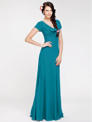 cheap -Sheath / Column Cowl Neck Floor Length Georgette Bridesmaid Dress with Side Draping by LAN TING BRIDE®