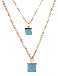 baratos -Mulheres Forma Geométrica Geométrico Original colares em camadas Turquesa Liga colares em camadas , Festa Diário Casual
