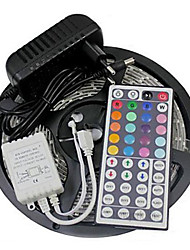 Z®zdm imperméable à l'eau 5m 24w 300smd 2835 rgb led strip light 44key contrôleur à distance kit 3a alimentation ac110-240v