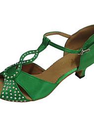 cheap -Women's Latin Shoes Satin Sandal Rhinestone Customized Heel Dance Shoes Green / Indoor