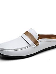 Masculino Sandálias Conforto Pele Verão Outono Ar-Livre Casual Para Esporte Tira Trançada Rasteiro Branco Marron Rasteiro
