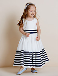cheap -A-Line Floor Length Flower Girl Dress - Taffeta Long Sleeves Jewel Neck with Ribbon by thstylee