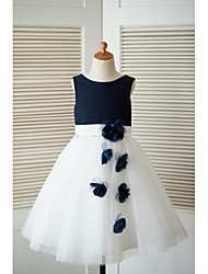 A-Line Knee Length Flower Girl Dress - Satin Tulle Sleeveless Scoop Neck with Flower by thstylee