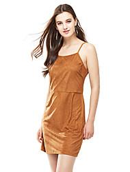 preiswerte -Damen Bodycon Kleid-Klub Sexy Solide Gurt Mini Ärmellos Gelb Polyester Sommer