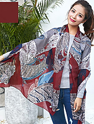 Korean Cotton and Linen Scarf Shawl Thin Long Rectangle Print Women's