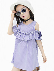 cheap -Girl's Daily Striped Dress,Cotton Spring Summer All Seasons Short Sleeve Lace Stripes Blue