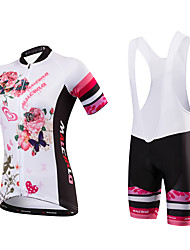 Malciklo Cycling Jersey with Bib Shorts Women's Short Sleeves Bike Jersey Bib Tights Quick Dry Anatomic Design Moisture Permeability High