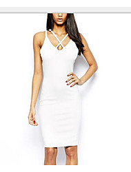 cheap -Women's Party Going out Vintage Cute Sexy A Line Bodycon Dress,Solid V Neck Above Knee Sleeveless Cotton Linen Spring Summer Low Rise