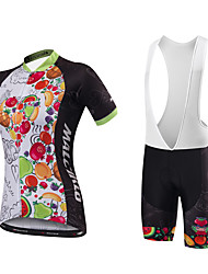 Malciklo Cycling Jersey with Bib Shorts Women's Short Sleeves Bike Bib Tights Jersey Anatomic Design Moisture Permeability High