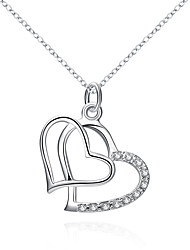 cheap -Women's Heart Heart Pendant Necklace Synthetic Diamond Silver Plated Pendant Necklace , Christmas Gifts Wedding Party Special Occasion
