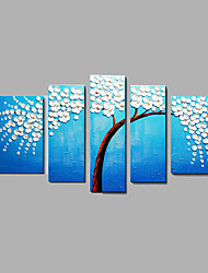 cheap -Hand-Painted Modern Tree & Plants Oil Painting Five Panel Canvas Oil Painting Multi Split Oil Painting
