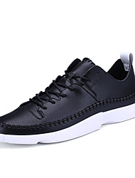 Men's Fashion Sneakers Casual Air Cushion Shoes Comfort Tulle Athletic Shoes Flat Heel Lace-up Black / White