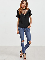 Women's Casual/Daily Beach Holiday Sexy Vintage Cute All Seasons Summer T-shirt,Solid Deep V Short Sleeve Rayon Translucent Thin
