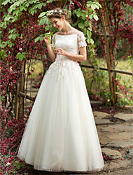 A-Line Bateau Neck Floor Length Tulle Wedding Dress with Beading Appliques Flower by LAN TING BRIDE®