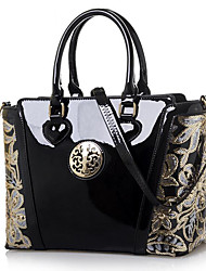 cheap -Women's Bags Patent Leather Polyester Tote for Event/Party Casual Office & Career All Seasons Blue Champagne Black Red