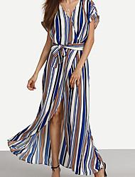 Недорогие -Для женщин Пляж  Праздники С летящей юбкой Платье Полоски,V-образный вырез Макси С короткими рукавами Искусственный шёлк ЛетоС высокой