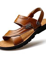 cheap -Men's Sandals Summer Fall Slingback Comfort Outdoor Athletic Casual Flat Heel Dark Brown Light Brown Black Walking