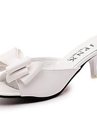 baratos -Mulheres Sapatos Couro Ecológico Verão Conforto Sandálias Caminhada Salto Agulha Ponta Redonda Laço para Casual Branco Preto