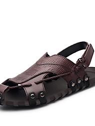 Sandálias dos homens primavera verão queda conforto nappa couro ao ar livre casual marrom escuro preto upstream sapatos