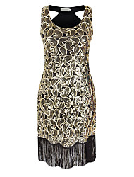 Sheath / Column V-neck Asymmetrical Polyester Cocktail Party Homecoming Dress with Sequins