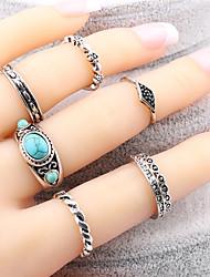 cheap -Luxury 7Pcs/Set Turquoise Ring Bohemian Ethnic Antique Silver Turkish Midi Finger Boho Rings Set Female Charms Jewelry For Women