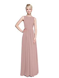 cheap -Product Sample A-Line Princess Bateau Neck Floor Length Chiffon Bridesmaid Dress with Draping Sash / Ribbon by LAN TING BRIDE®