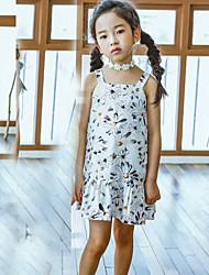 cheap -Girl's Lattice Dress, Cotton Summer Short Sleeves Floral White