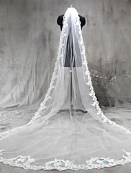 cheap -One-tier Lace Applique Edge Wedding Veil Cathedral Veils With Applique Tulle