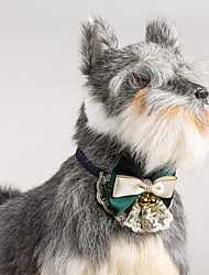 Cat Dog Adjustable Lace Collar Bowtie With Bells