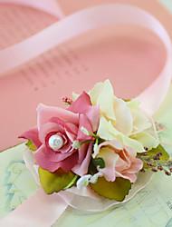 economico -Bouquet sposa Braccialetto floreale Matrimonio Party /serata Festa per la promessa di matrimonio Da party/cocktail Tulle Raso 8 cm ca. 3