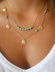 cheap -Women's Jewelry Personalized Basic Double-layer Fashion Pendant Necklace Turquoise Gold Plated Turquoise Alloy Pendant Necklace , Party