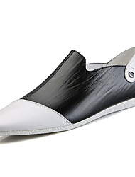 cheap -Men's Shoes Cowhide Spring / Fall Comfort Loafers & Slip-Ons Walking Shoes White / Black