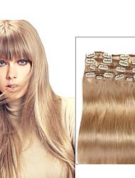 9pcs / sæt deluxe 120g # 18 beige blonde klip i hair extensions 16inch 20inch 100% lige menneskehår