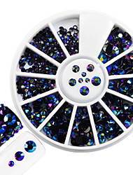 cheap -1pcs Fashion Mixed Size Shining Resin Jelly Rhinestone Decoration Nail Art Round Disc Glitter Colorful Laser Flame Rhinestone DIY Beauty Rhinestone