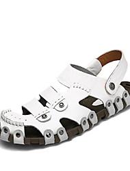 Men's Sandals Spring Summer Comfort Light Soles Leather Outdoor Casual Flat Heel Brown Black White Walking Shoes