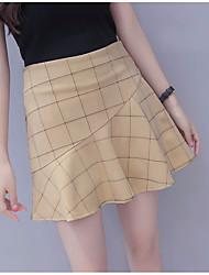 cheap -Women's Casual A Line Skirts - Check High Waist