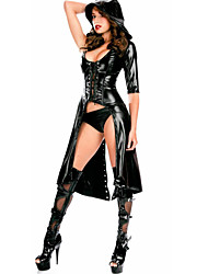 cheap -Women's Chemises & Gowns Nightwear Solid-Medium PU Patent Leather Black