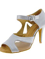 "Women's Latin Satin Sandal Heel Indoor Sequin Buckle Customized Heel Clear 1"" - 1 3/4"" 2"" - 2 3/4"" 3"" - 3 3/4"" 4"" & Up Customizable"